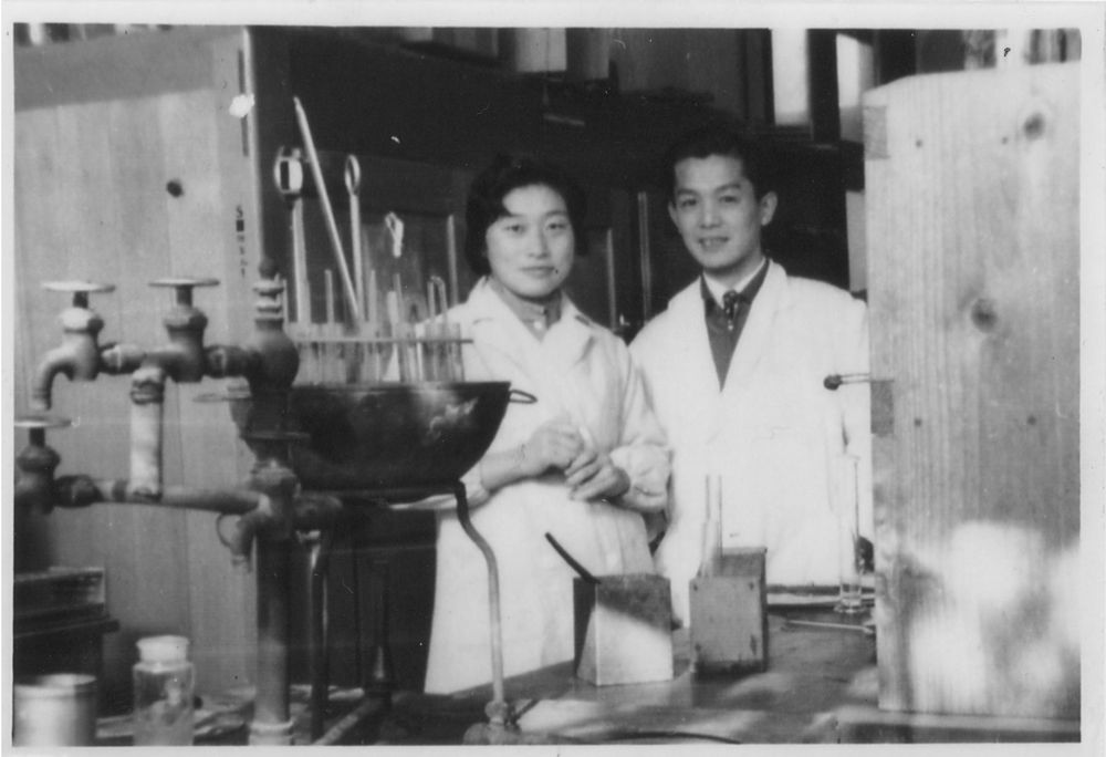 Tsuneko and Reiji Okazaki in their lab at Nagoya University, Japan, shortly after their marriage in the 1950s.