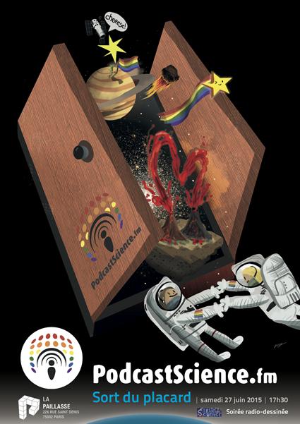 Affiche Podcast Science Sort du Placard, Dessin de Puyo