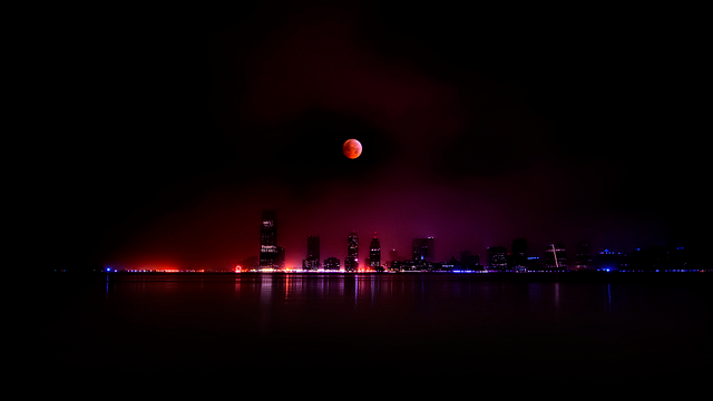 Steve Kelley, Winter Solstice Lunar Eclipse taken over Jersey City, NJ