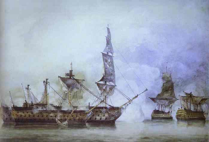 le Victory à la bataille de Trafalgar, entouré de deux Man'o'War français.