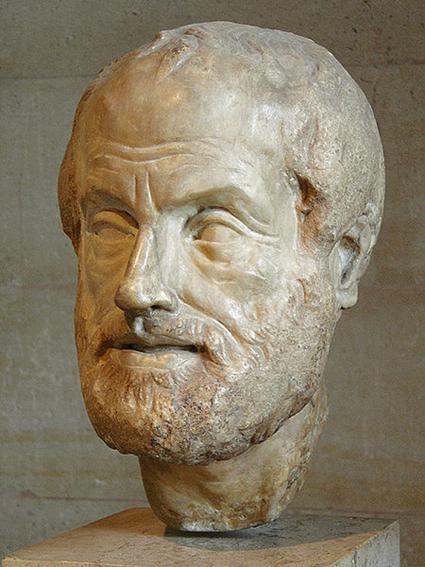 Portrait d'Aristote. Marbre du Pentélique, copie romaine de période impériale (Ier ou IIe siècle ap. J.-C.) d'un bronze perdu réalisé par Lysippe.