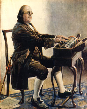 Benjamin Franklin essayant son instrument, par Alan Foster, 1926